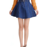 Blue A-line Mini Denim Skirt