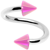 16 Gauge Iridescent Pink Acrylic Cone Spiral Twister | Body Candy Body Jewelry