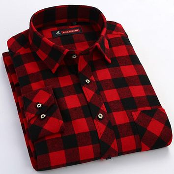 c467e4d7d Men s Red black Plaid Checked Brushed Flannel Shirt with Chest P