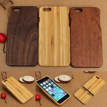 Full Wooden Solid Shockproof Hard Phone Case Cover For iPhone 7 6 6s Plus 5 5s