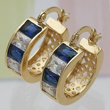 Gold Layered Women Small Hoop, with Sapphire Blue Cubic Zirconia, by Folks Jewelry