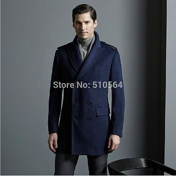 Custom made Business Slim double breast men high quality worsted wool cashmere coat Navy Blue casual jacket