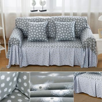 4 Size Tiny Floral Linen Blend Slipcovers Sofa Cover Pet Protector Dust-proof Easy Clean Table Sofa