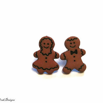 Gingerbread Earrings, Gingerbread Man & Woman Earring set, Christmas earrings,  Stocking stuffer, gift under 10, gift for her, Gingerbread