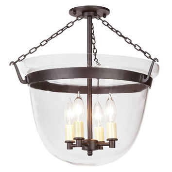 JVI Designs 1155-08 Oil Rubbed Bronze Large Semi-Flush Bell Jar Lantern with Clear Glass