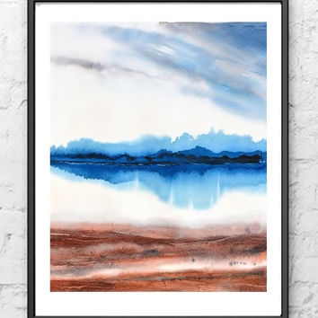 Landscape Watercolor Painting, Print Landscape Art, Landscape Abstract, Blue Wall Decor,Beach Painting,Lake Painting, Nature Artwork,Brown