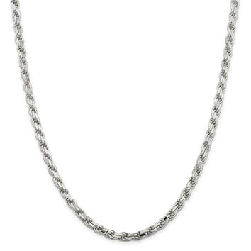 925 Sterling Silver 5.6mm Diamond-cut Rope Chain Necklace, Bracelet or Anklet