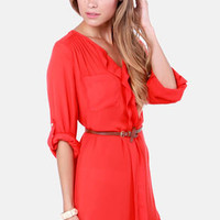 Keep it Real Belted Red Shirt Dress