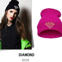Winter Beanie Womens & Mens Diamond Knitted Rose Gold Cuffed Skully Hat