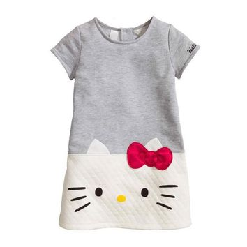 2016 Baby Girls Dresses Hello Kitty Children Clothing For Girls Princess Dress Christmas Kids Clothes