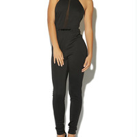 Belted Cut Away Halter Jumpsuit