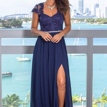e5228ccd7 Navy Open Back Maxi Dress with Jewel Detail