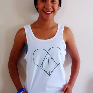 Deathly Hallows Tank Top. Unisex Sizing Harry Potter Fandom Tank Top.