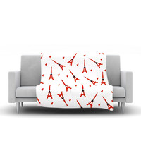 "Louise ""Paris"" White Red Fleece Throw Blanket"