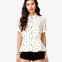 Star Print Peplum Top