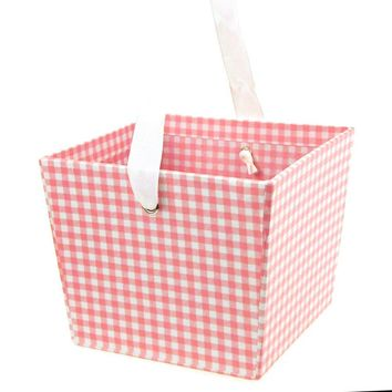 Cardboard Paper Market Tray, Gingham Pink, 5-Inch