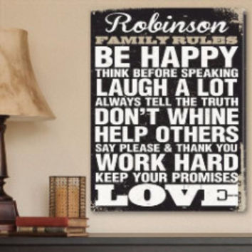 Personalized Family Rules Canvas Print Sign Gift