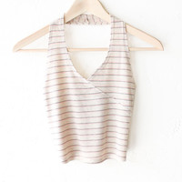 Striped Halter V-neck Crop Top