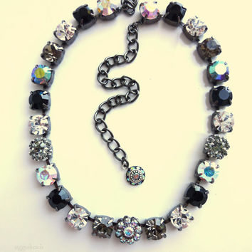 Swarovski crystal choker in black and white metallic- better than sabika- GREAT DEAL