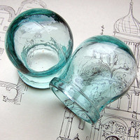 Set of 2 Vintage Beautiful Blue Color Cupping Jars Massage Cups for Chinese massage or Home Decor