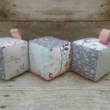 Gray coral pink girl baby blocks - modern rustic shabby cottage chic nursery decor - photo prop decor - floral blocks - FLAWED FREE SHIPPING