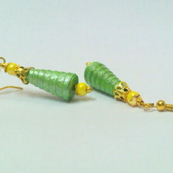 Paper Earring - Quilled cone Jhumka Green colour