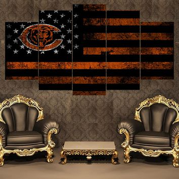 5 Pieces Sport Chicago Bears Poster Canvas Paintings Wall Art Oil Painting On Canvas For Living Room Painting Calligraphy