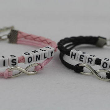 Couples Bracelets Set, His and Hers Bracelets, His only Her One Bracelets, Black Pink Jewelry, Infinity Bracelets, Anniversary Gift, Wedding