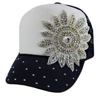 * Crystal Bling Bling Rhinestone with Studs Truck Hat In Black