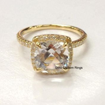 Cushion White Topaz Engagement Ring Pave Diamond Wedding 18K Yellow Gold 8mm
