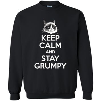 Grumpy Cat Keep Calm And Stay Grumpy Poster Graphic  Printed Crewneck Pullover Sweatshirt