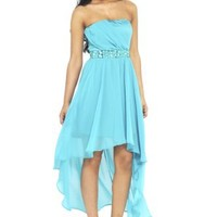 AX Paris Women's Strapless Drop Back Jewel Dress