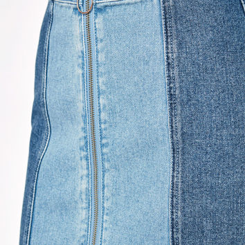 PacSun Paneled Zip Front Denim Skirt at PacSun.com