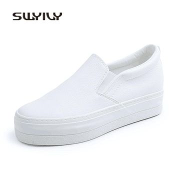 Womens White PU Casual Shoes Inside Wedge Platform Sneakers