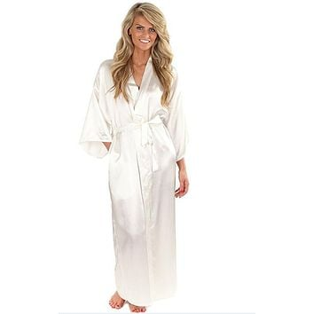 66b668aadd48b Women Silk Satin Long Wedding Bride Bridesmaid Robe Kimono Robe Feminino  Bath Robe Large Size XXXL