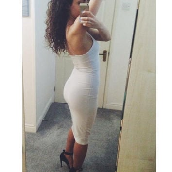White Halter Bodycon Dress