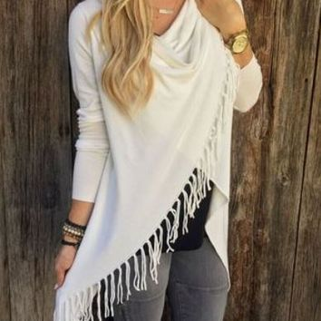 Day-First™ Womens Long Sleeve Tassel Fringe Front Top