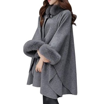 Fashion Women Jacket Casual Woollen Outwear Fur Collar Parka Cardigan Cloak Coat