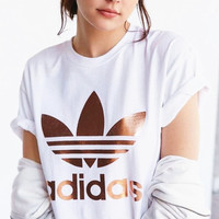 """Adidas"" Print Short Sleeve Shirt Top Tee Blouse White-Golden"