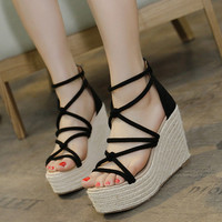 Womens Trendy String Tie Platform Wedge Sandals