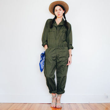 Army Green Jumpsuit || Military Issue Coveralls || Vintage Overalls || Men's size 40 S