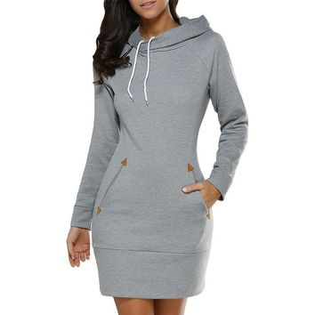 Winter Warm Women Casual Straight Long Sleeve Hooded Pockets Short Dress