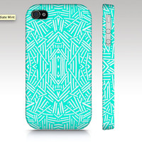 Hipster iPhone case, tribal iPhone 4s case, iPhone 5 case, fashion tribal aztec pattern design in mint aqua, trendy art for your phone