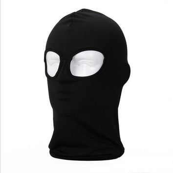 2 Hole Black Balaclava Hats Military Tactical Airsoft Hood Bicycle Paintball Helmet Windproof Full Face Mask