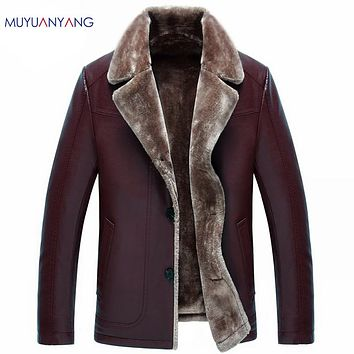 New Arrivals Winter Men's Casual Leather Jacket Men Faux Leather Jackets Faux Fur Coat High Quality