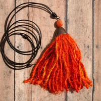 Long Tassel Necklace, Simple Leather Necklace, Orange Sari Silk Tassel Pendant, Leather Jewelry, Boho Jewelry, Teen Girl Gift Best Friend