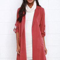 Balancing Act Washed Red Trench Coat