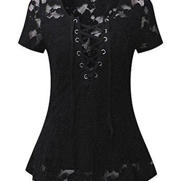 StyleDome Women Front Cross Lace UpCrochet V Neck Casual VestShort Sleeve Blouse Sexy Tank Tee Tops