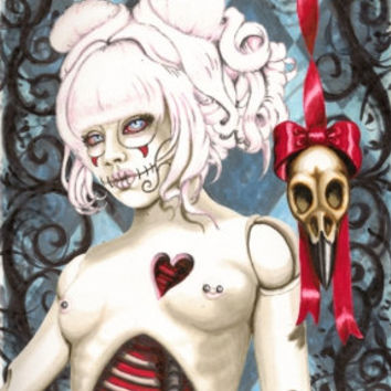 Sugar Skull Dolly, Reliquary stretched canvas print