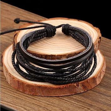 Multilayer Leather Bracelets Women Charm Europe PU Cord Cuff Bangle Link Chain Wristbands Friendship Jewelry Accessories